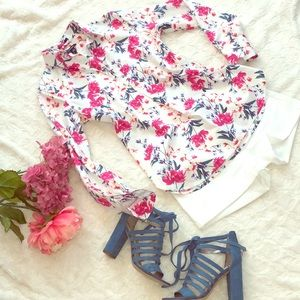 Magnolia flower print cotton tunic